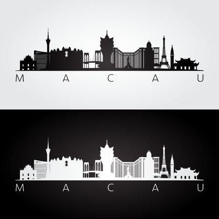 マカオのスカイラインとランドマークのシルエット、黒と白のデザイン、ベクトル イラストです。  イラスト・ベクター素材