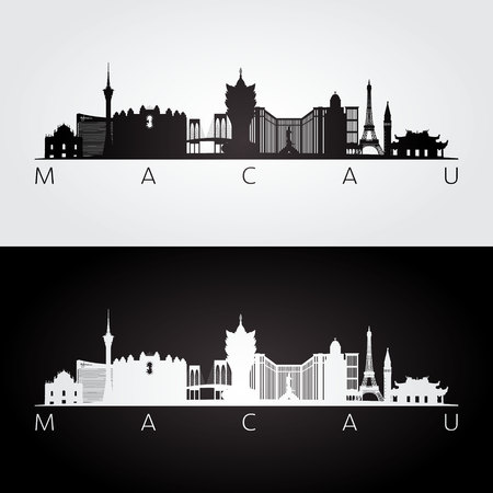 Macau skyline and landmarks silhouette, black and white design, vector illustration.