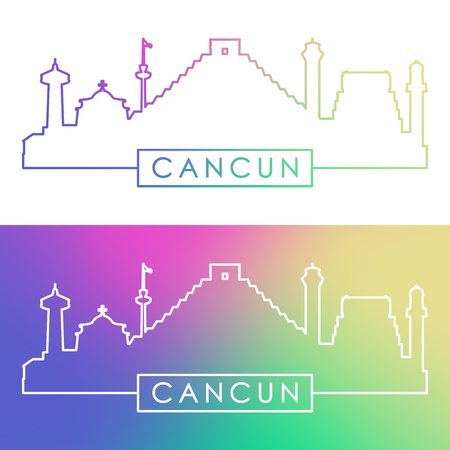 cancun: Cancun skyline. Colorful linear style. Editable file.