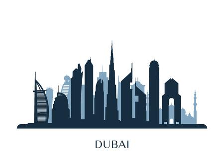 Dubai skyline, monochrome silhouette. Ilustração