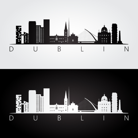 Dublin skyline and landmarks silhouette, black and white design Ilustração