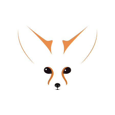 Fennec muzzle, eyes and ears. Vector Illustration