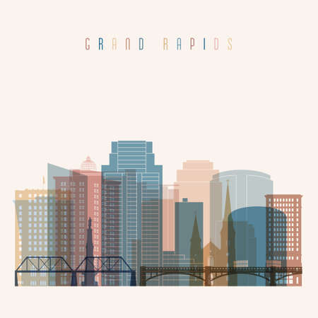 Grand Rapids state Michigan skyline detailed silhouette. Transparent style.