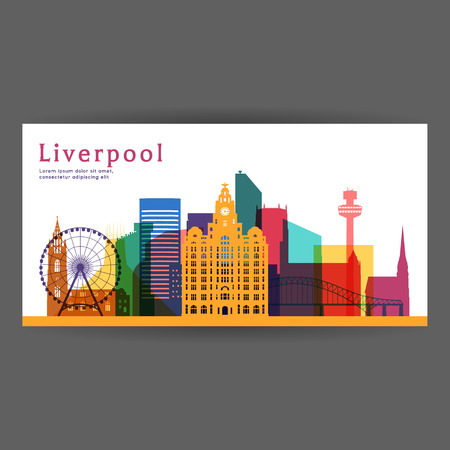 Liverpool colorful architecture illustration, skyline city silhouette, skyscraper, flat design.