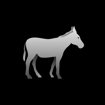 Silhouette of a gray donkey standing
