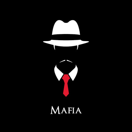 White silhouette of an Italian Mafia with a red tie Stock Illustratie