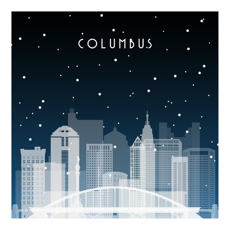 Winter night in Columbus illustration.