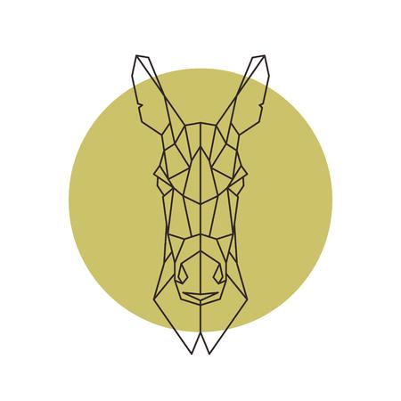 ロバの図の幾何学的な頭は。  イラスト・ベクター素材