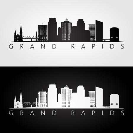 Grand Rapids, USA skyline and landmarks icon.  イラスト・ベクター素材