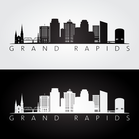 Grand Rapids, USA skyline and landmarks icon. Çizim