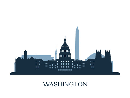 Washington skyline illustration. Reklamní fotografie - 85067243