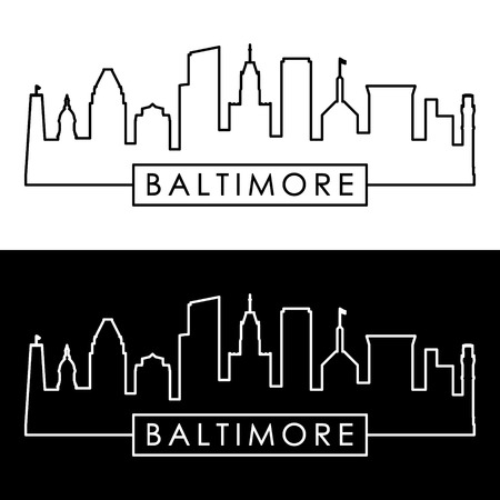 Baltimore skyline linear style. Illustration