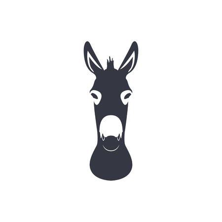 Dark blue silhouette head of a donkey Vector illustration.