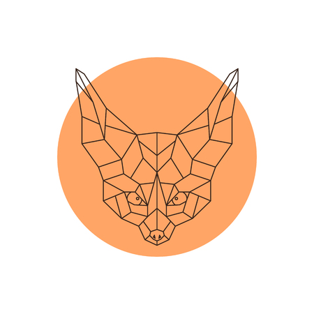Head of Fennec. Geometric head of a wild little fox. Vector Illustration