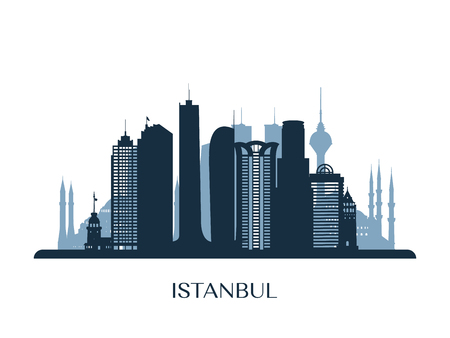 Istanbul skyline, monochrome silhouette Vector illustration.