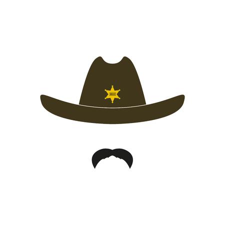 Sheriffs head. Cowboy icon Vector illustration. Illustration