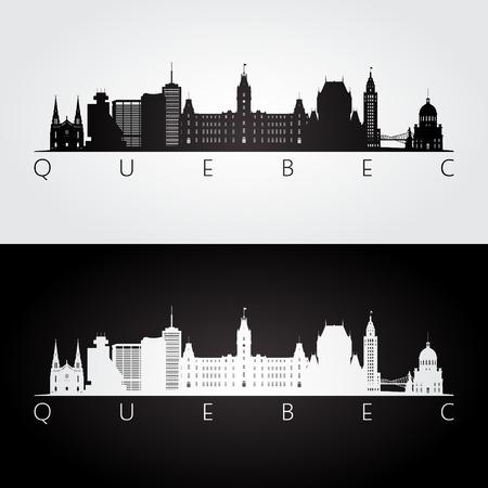 Quebec skyline and landmarks silhouette, black and white design, vector illustration.