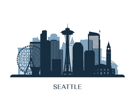 シアトルのスカイライン、モノクロ シルエット ベクトル図です。