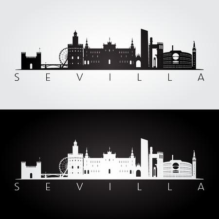 セビリアのスカイラインとランドマークシルエット, 黒と白のデザインベクトルイラスト.