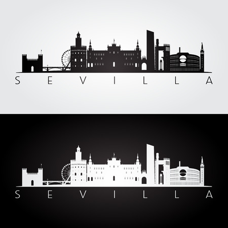 Sevilla skyline and landmarks silhouette, black and white design vector illustration.