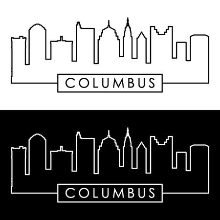 Columbus skyline. Linear style. Editable vector file. Vector Illustration