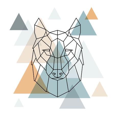 Geometric wolf illustration. Vector low poly line art. Geometric wolf head. Scandinavian style.