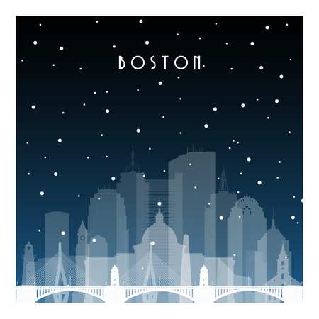 Winter night in Boston. Night city in flat style for banner, poster, illustration, game, background.