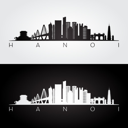 Hanoi skyline and landmarks silhouette, black and white design, vector illustration.