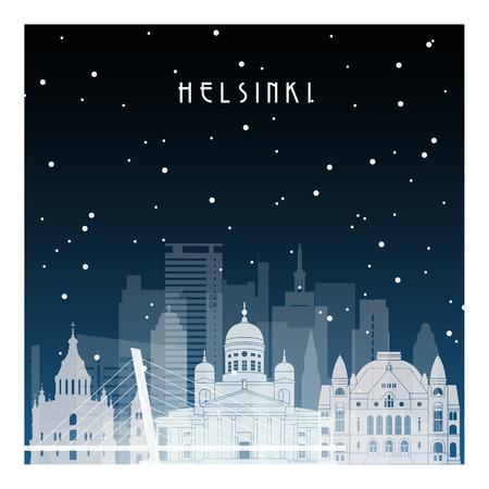 ヘルシンキの冬の夜バナー、ポスター、イラスト、ゲーム、背景のためのフラットなスタイルで夜の街。