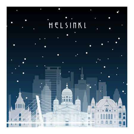 Winter night in Helsinki. Night city in flat style for banner, poster, illustration, game, background.