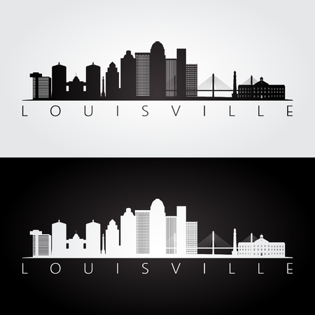 Louisville usa skyline and landmarks silhouette, black and white design, vector illustration. Stock Vector - 86485065