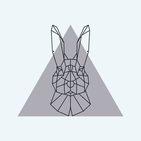 Geometric head of a hare. Vector illustration.