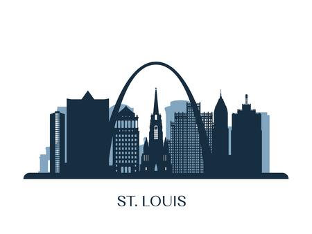 St. Louis skyline, monochrome silhouette. Vector illustration. Stock Illustratie