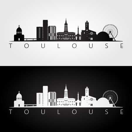 Toulouse skyline and landmarks silhouette, black and white design, vector illustration. Illustration