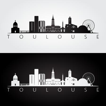 Toulouse skyline and landmarks silhouette, black and white design, vector illustration. Ilustração