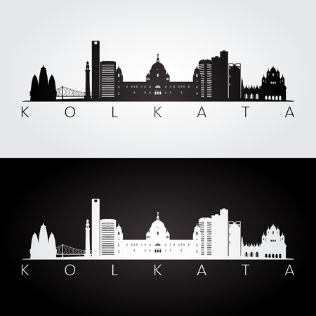 Kolkata skyline and landmarks silhouette, black and white design, vector illustration. Stock Vector - 87055073