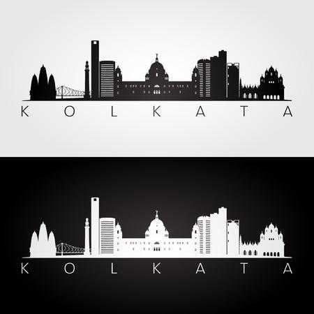 Kolkata skyline and landmarks silhouette, black and white design, vector illustration.