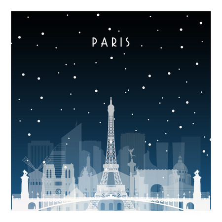 Winter night in Paris. Night city in flat style for banner, poster, illustration, game, background. Stock Illustratie