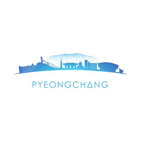 Pyeongchang skyline silhouette. Vector design on white background.