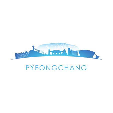 Pyeongchang skyline silhouet. Vector ontwerp op witte achtergrond. Stock Illustratie