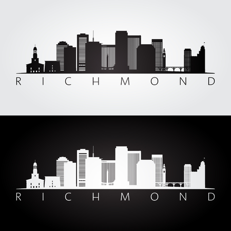 Richmond usa skyline and landmarks silhouette, black and white design, vector illustration.