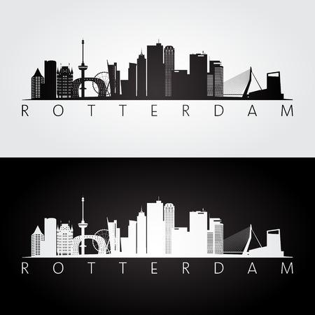 Rotterdam skyline and landmarks silhouette, black and white design, vector illustration. Stock Illustratie