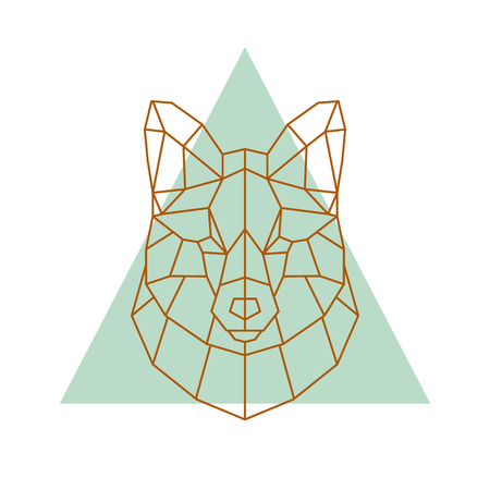 Geometric head of a fox. Vector illustration.