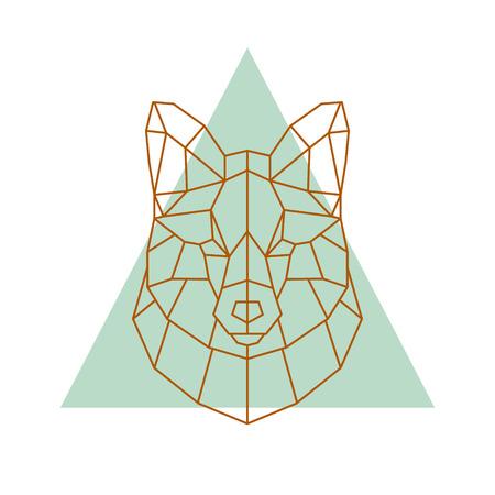 Geometric head of a fox. Vector illustration.