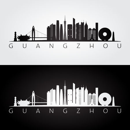 Guangzhou skyline and landmarks silhouette, black and white design, vector illustration.