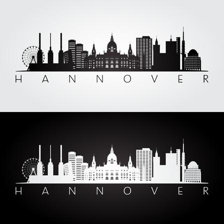 Hannover skyline and landmarks silhouette, black and white design, vector illustration. Ilustrace