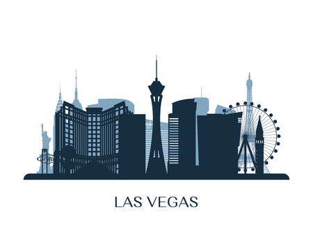 Las Vegas skyline, monochrome silhouette. Vector illustration. 일러스트