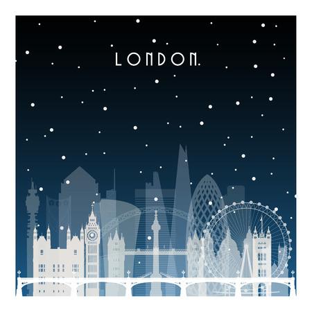 Noche de invierno en Londres. Ciudad de la noche en estilo plano para banner, cartel, ilustración, juego, fondo. Ilustración de vector