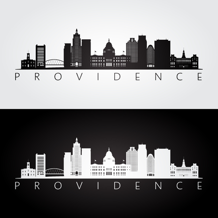 Providence usa skyline and landmarks silhouette, black and white design, vector illustration. Çizim