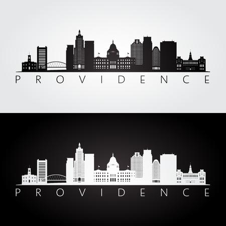 Providence usa skyline and landmarks silhouette, black and white design, vector illustration. Illustration